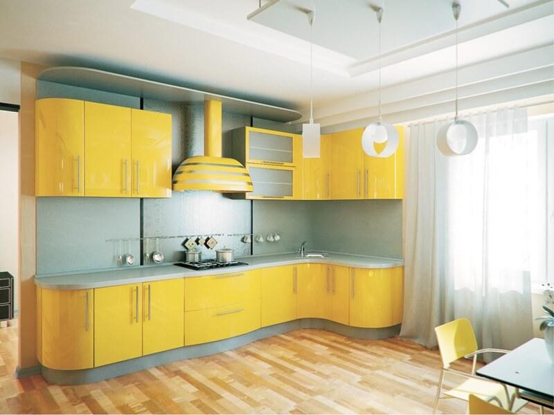 Кухня Светло-желтый глянец